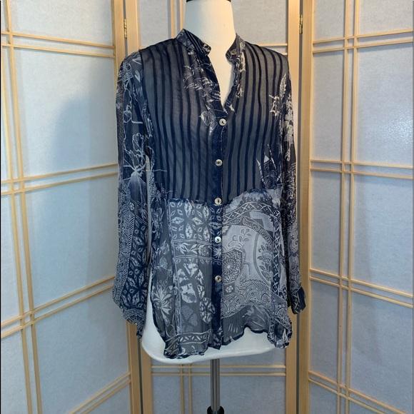 CITRON SANTA MONICA Sheer 100% Silk Floral Tunic